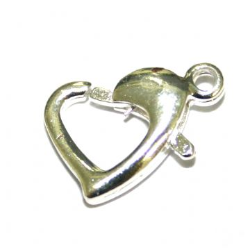 4pcs x Rhodium plated heart clasp 12mm - S.F - 4000015